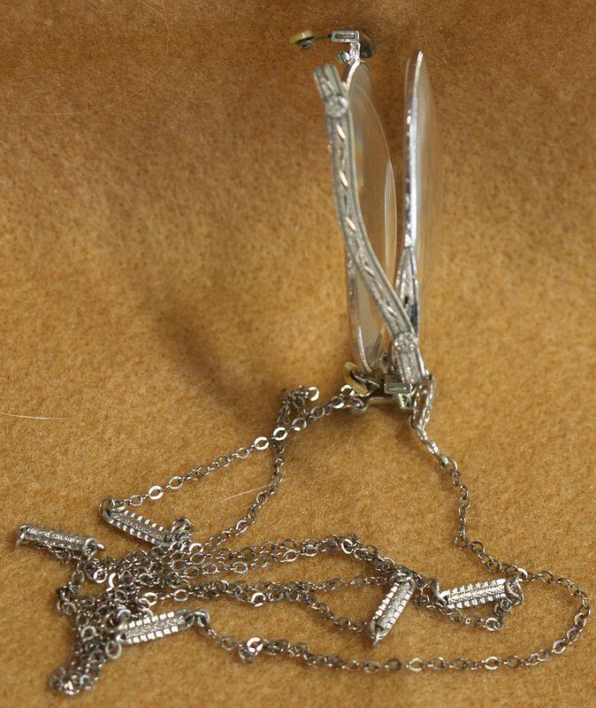 antique folding pince-nez eyeglasses on chain necklace ...